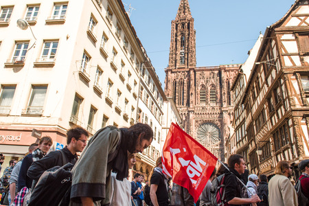 nationwide: STRASBOURG, FRANCE - APR 20, 2016:  as hundreds of people demonstrate as part of nationwide day of protest against proposed labor reforms by Socialist Government