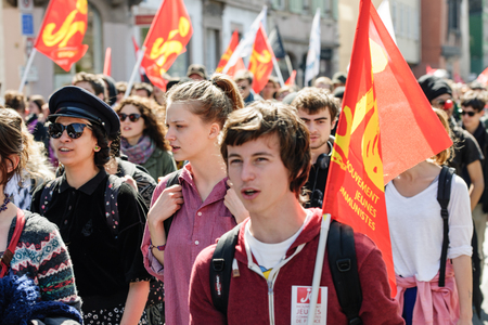proposed: STRASBOURG, FRANCE - APR 20, 2016: Closed central street as hundreds of people demonstrate as part of nationwide day of protest against proposed labor reforms by Socialist Government