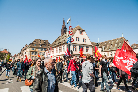 proposed: STRASBOURG, FRANCE - APR 20, 2016: People protesting in center of Strasbourg as part of nationwide day of protest against proposed labor reforms by Socialist Government