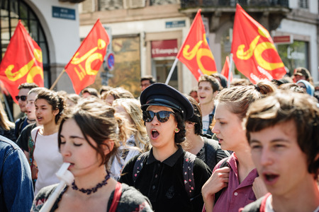 nationwide: STRASBOURG, FRANCE - APR 20, 2016: Students demonstrate as part of nationwide day of protest against proposed labor reforms by Socialist Government