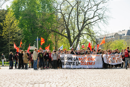 nationwide: STRASBOURG, FRANCE - APR 20, 2016: Closed central street as hundreds of people demonstrate as part of nationwide day of protest against proposed labor reforms by Socialist Government