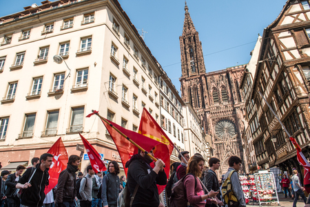 proposed: STRASBOURG, FRANCE - APR 20, 2016:  as hundreds of people demonstrate as part of nationwide day of protest against proposed labor reforms by Socialist Government