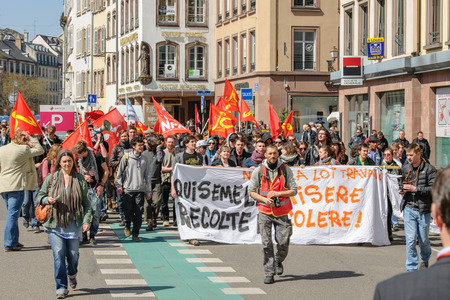 nationwide: STRASBOURG, FRANCE - APR 20, 2016: PLace Gutenberg with hundreds of people demonstrate as part of nationwide day of protest against proposed labor reforms by Socialist Government