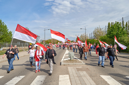 european parliament: STRASBOURG, FRANCE - APR 30, 2016: Closed street near European Parliament as crowd protest against government regional reform for the fusion of the Alsace region with Lorraine and Champagne-Ardenne Editorial