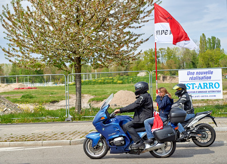 STRASBOURG, FRANCE - APR 30, 2016: Motorcycle band in front of crowd at protest against government regional reform for the fusion of the Alsace region with Lorraine and Champagne-Ardenne