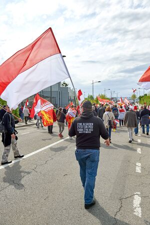 frei: STRASBOURG, FRANCE - APR 30, 2016: Closed street near European Parliament as crowd protest against government regional reform for the fusion of the Alsace region with Lorraine and Champagne-Ardenne Editorial