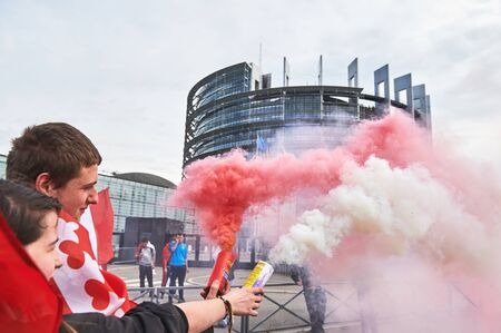 est: STRASBOURG, FRANCE - APR 30, 2016: as crowd protest against government regional reform for the fusion of the Alsace region with Lorraine and Champagne-Ardenne