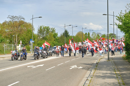 frei: STRASBOURG, FRANCE - APR 30, 2016: Closed boulevard as crowd protest against government regional reform for the fusion of the Alsace region with Lorraine and Champagne-Ardenne