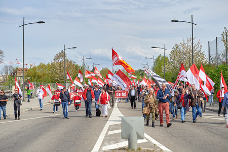 STRASBOURG, FRANCE - APR 30, 2016: Closed street near European Parliament as crowd protest against government regional reform for the fusion of the Alsace region with Lorraine and Champagne-Ardenne Editorial
