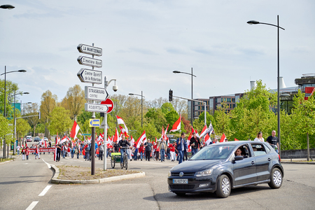 est: STRASBOURG, FRANCE - APR 30, 2016: Closed street near ECHR as crowd protest against government regional reform for the fusion of the Alsace region with Lorraine and Champagne-Ardenne