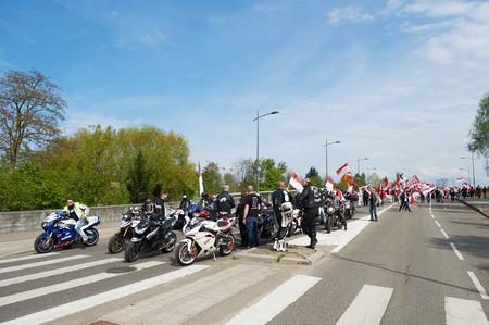 frei: STRASBOURG, FRANCE - APR 30, 2016: as crowd protest against government regional reform for the fusion of the Alsace region with Lorraine and Champagne-Ardenne