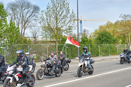 frei: STRASBOURG, FRANCE - APR 30, 2016: Motorcycle band in front of crowd at protest against government regional reform for the fusion of the Alsace region with Lorraine and Champagne-Ardenne
