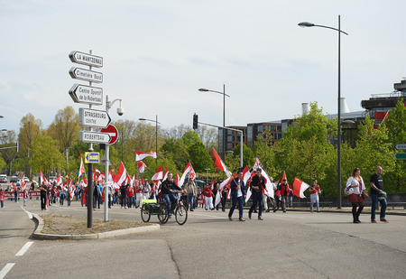 frei: STRASBOURG, FRANCE - APR 30, 2016: Closed street near ECHR as crowd protest against government regional reform for the fusion of the Alsace region with Lorraine and Champagne-Ardenne
