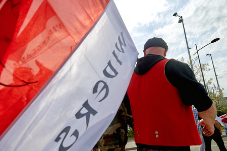 est: STRASBOURG, FRANCE - APR 30, 2016: Closed street near European Parliament as crowd protest against government regional reform for the fusion of the Alsace region with Lorraine and Champagne-Ardenne Editorial