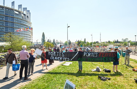european parliament: STRASBOURG, FRANCE -MAy 8, 2016: Open Doors day, Closed doors at borders - protest in front of the European Parliament during EU migrant policy