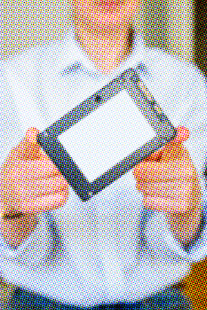 solid state drive: Pixelated offfset image of hands holding fast flash SSD - solid state drive with sata 6 gb connection