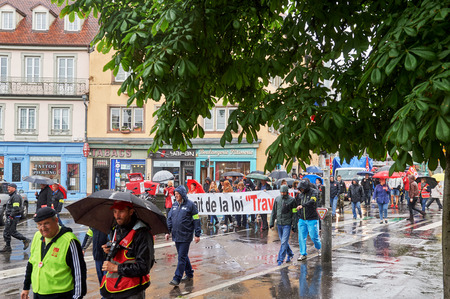 nationwide: STRASBOURG, FRANCE - MAY 12, 2016: Closed central street as thousand of people demonstrate as part of nationwide day of protest against labor reforms by France Government