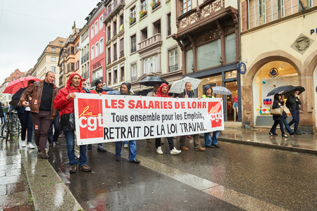 nationwide: STRASBOURG, FRANCE - MAY 12, 2016: Retract labor law as thousand of people demonstrate as part of nationwide day of protest against labor reforms by France Government