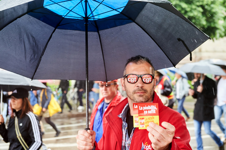 confederation: STRASBOURG, FRANCE - MAY 12, 2016: CGT France - Ganeral Confederation of Labour demonstrate as part of nationwide day of protest against labor reforms by France Government