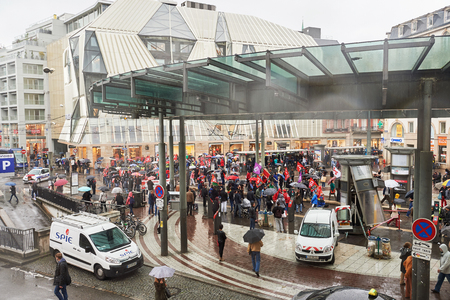 nationwide: STRASBOURG, FRANCE - MAY 12, 2016: Paralyzed public transportation as thousand of people demonstrate as part of nationwide day of protest against labor reforms by France Government