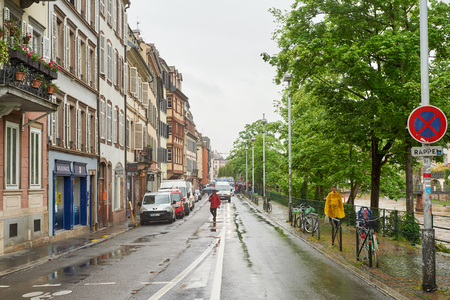 reforms: STRASBOURG, FRANCE - MAY 12, 2016: Police surveilling crowd as thousand of people demonstrate as part of nationwide day of protest against labor reforms by France Government