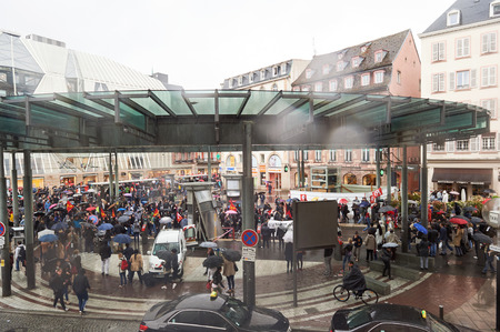 reforms: STRASBOURG, FRANCE - MAY 12, 2016: Paralyzed public transportation as thousand of people demonstrate as part of nationwide day of protest against labor reforms by France Government