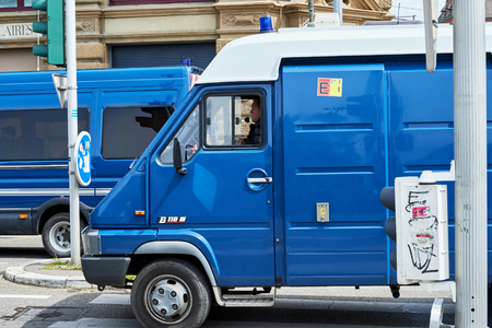 demonstrations: STRASBOURG, FRANCE - MAY 19, 2016: Police van surveilling demonstrations against proposed French governments labor and employment law reform