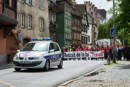 demonstrations: STRASBOURG, FRANCE - MAY 19, 2016: Closed central street as demonstrations marching against proposed French governments labor and employment law reform