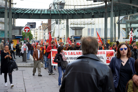 conflictos sociales: STRASBOURG, FRANCE - MAY 19, 2016: Protesters blocking tramway lines in the center of Strasbourg during a demonstrations against proposed French governments labor and employment law reform