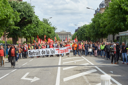 labor union: STRASBOURG, FRANCE - MAY 19, 2016: more than one thousand on Avenue de la Liberte  during a demonstrations against proposed French governments labor and employment law reform