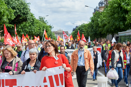 proposed: STRASBOURG, FRANCE - MAY 19, 2016: more than one thousand on Avenue de la Liberte  during a demonstrations against proposed French governments labor and employment law reform