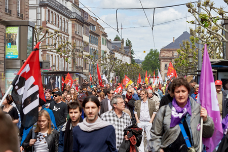 place of employment: STRASBOURG, FRANCE - MAY 19, 2016: Place BRoglie blocked with demonstrations against proposed French governments labor and employment law reform Editorial
