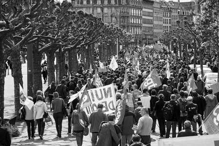 proposed: STRASBOURG, FRANCE - MAY 19, 2016: Perspective view of crowd on Place Broglie during a demonstrations against proposed French governments labor and employment law reform Editorial