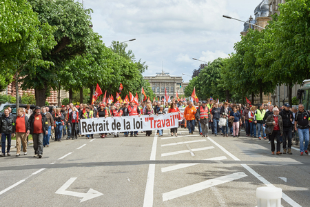 conflictos sociales: STRASBOURG, FRANCE - MAY 19, 2016: more than one thousand on Avenue de la Liberte  during a demonstrations against proposed French governments labor and employment law reform