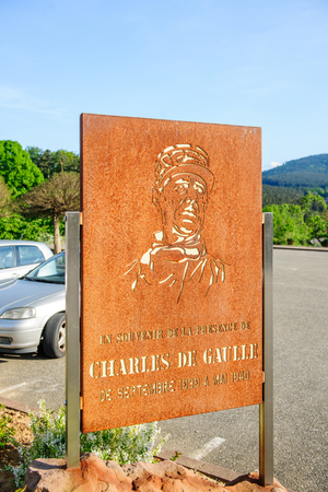 charles de gaulle: Wangenbourg-Engenthal, France - MAy 10, 2015: In the memory of Genral Charles de Gaulle placard in the center of Wangenbourg, France Editorial