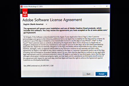 Paris France Jan 25 2016 Adobe Software License Agreement