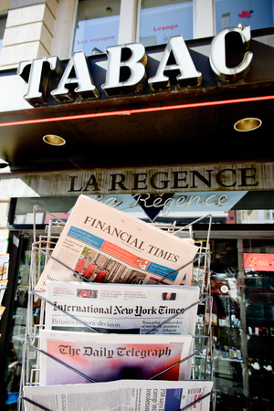 separatism: STRASBOURG, FRANCE - JUN 24, 2016: International New York Times, Financial Times, The Daily Telegraph and other major newspapers headline titles at press kiosk about the Brexit referendum in United Kingdom which has decidedthe country wishes to quit the E