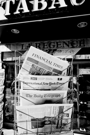 skepticism: STRASBOURG, FRANCE - JUN 24, 2016: International New York Times, Financial Times, The Daily Telegraph and other major newspapers headline titles at press kiosk about the Brexit referendum in United Kingdom which has decidedthe country wishes to quit the E