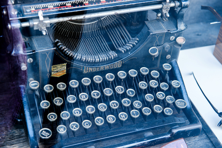 manufactured: LUXEMBOURG, LUXEMBOURG - JUN 05, 2016: Vintage ancient typewriter manufactured by Underwood with French keyboard