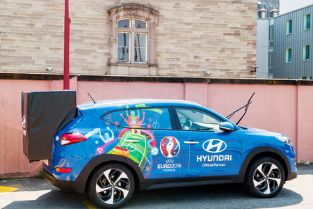tucson: STRASBOURG, FRANCE - JUN 6, 2017: Hyundai Tucson, Official Partner and official transporter of the UEFA CCup Trophy