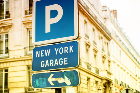 new rules: New York Garage parking area in the heart of the city with beautiful luxury buildings in the background