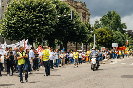 perturbed: STRASBOURG, FRANCE - JUN 25: Members of Turkeys Alevi community protesting denouncing the evolution of the political situation in Turkey - closed boulevard and perturbed transportation Editorial
