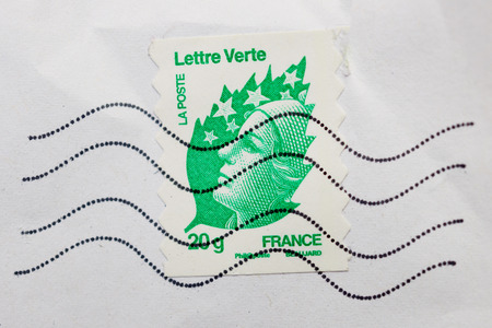 PARIS, FRANCE - DEC 30, 2013: Postage stamp with National Symbol of France - Marianne issued by La Poste, National Postl service of France Editorial