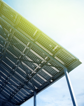 voltaic: Solar energy battery view from below against clear blue sky on a spring day