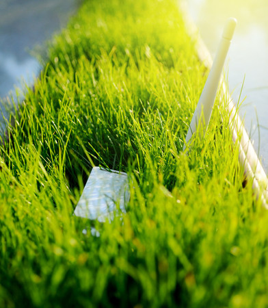 Modern LTE USB Wi Fi Adapter in green grass - concept for green an environmentally friendly spectre of wireless network Stock Photo