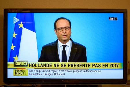 democrat party: PARIS, FRANCE - DEC 1, 2016: Francois Hollande at French Television address to the Nation that he will not seek re-election as president of France