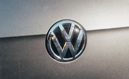 f 18: PARIS, FRANCE - NOV 29, 2016: Volkswagen VW logotype on a gray silver car. On 18 September 2015, the United States Environmental Protection Agency (EPA) issued a notice of violation of the Clean Air Act to German automaker Volkswagen Group, after it was f Editorial