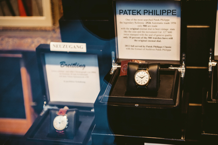 luxury watches: BADEN, BADEN - GERMANY - NOV 20, 2014: Patek Philippe Refernz 2526 luxury watch in the window of a store in Baden-Baden. It is one of the mosthsearched luxury watches worldwide