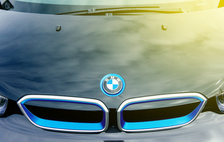 MUNCHEN, GERMANY - APRIL 06, 2015: Abstract Electric BMW i3 front radiator grille detail. Previously Mega City Vehicle (MCV), is a five-door urban electric car developed by the German manufacturer BMW.