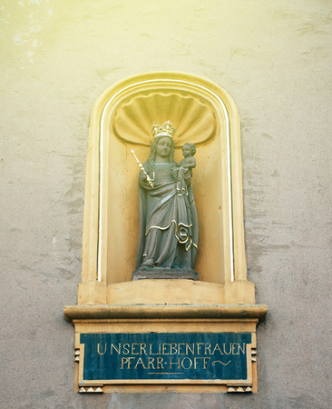 architectural tradition: Beautiful Statue of Maria holding Jesus at Liebfrauenkirche (German for Church of Our Lady) - the earliest Gothic church in Germany and falls into the architectural tradition of the French Gothic cathedrals.